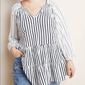 Anthropologie Striped Isola Tiered Babydoll Top 1X